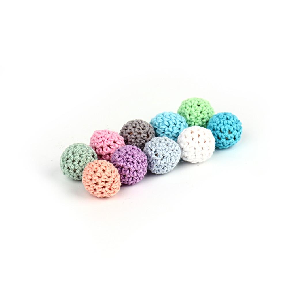500pcs Crochet Beads 16mm Teeth Nursing Pacifier Chains Accessories Wooden Teether Teething Wood Rattles Toys Nursing