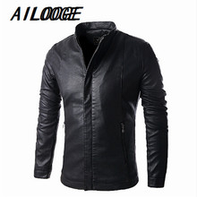 High-grade leather men pu leather motorcycle jacket large size casual shirt