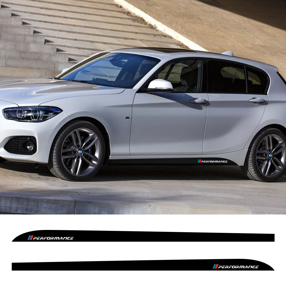Car M Performance Logo Stickers For BMW 1 Series F20 F21 118i 120i 125i 128i 135i M Side  Stripes Vinyl Tuning Car Accessories