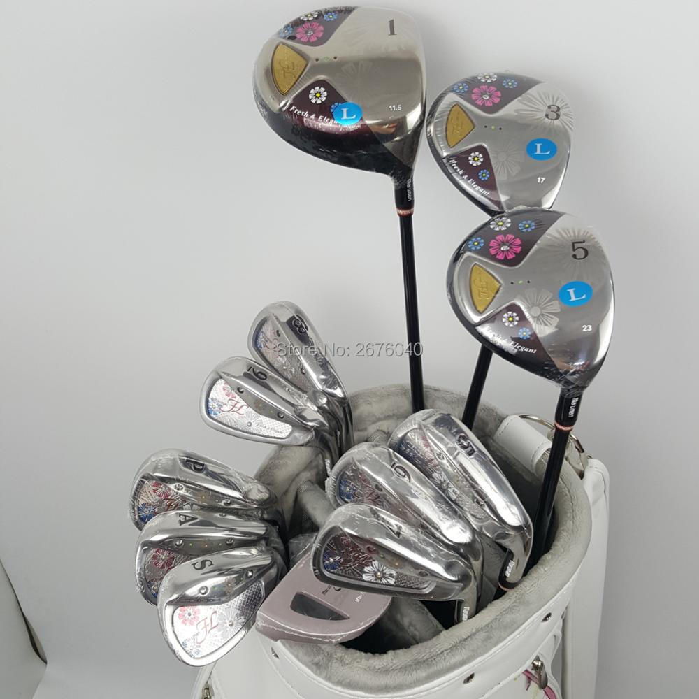 New womens Golf clubs Maruman FL Golf complete set of clubs driver+fairway wood+irons+putter Graphite Golf shaft No ball packs womens golf clubs maruman rz complete clubs set driver fairway wood irons graphite golf shaft and cover no ball packs