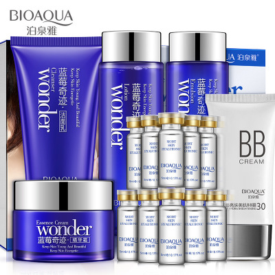 Bioaqua Blueberry  Moisturizing Whitening Cream Lotion Facial Face Day Cream BB Cream Toner Cleansing Skin Care Cosmetic 6 Set