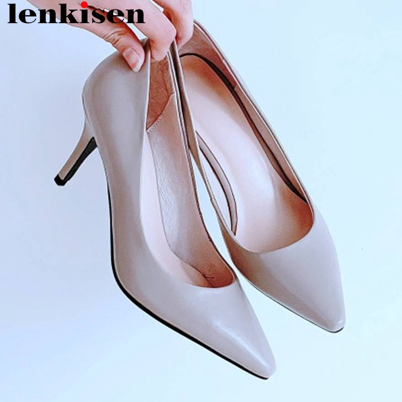 Lenkisen European British soft full grain leather fashion show large size women pumps stiletto high heels