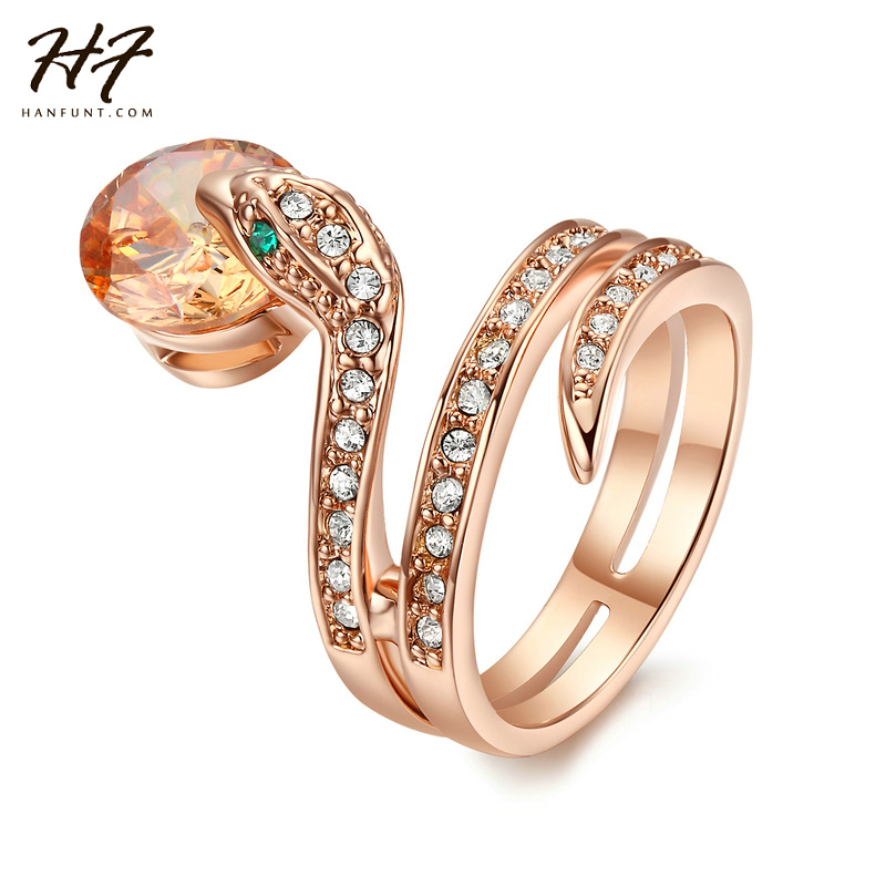 Top Quality Snake Show Bead Ring Rose Gold Color Austrian Crystals Full Sizes Wholesale R149 R150