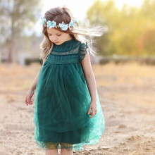 Baby Girls casual dress lace Tulle Dress with Ruffle sleeve kids Sleeveless princess Evening for little girls