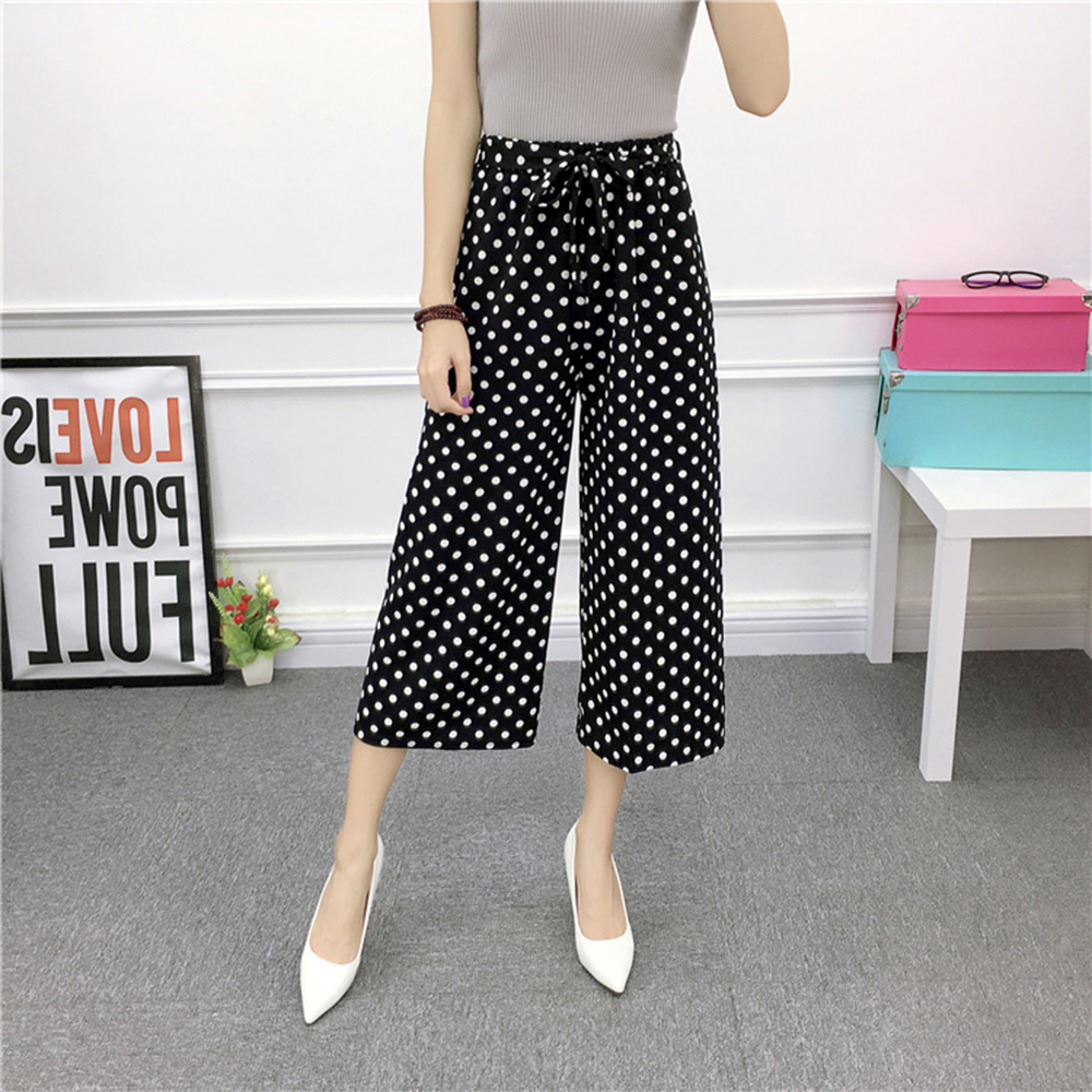 Summer   Pants   Drawstring   Wide     Leg     Pants   Women Casual High Waist Trousers Striped   Pants   Suit Loose Simple Patterned Print Lacing