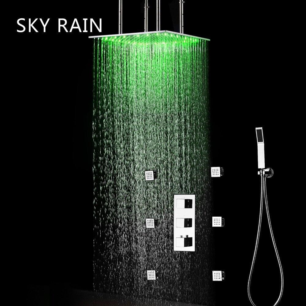 CÉU 20 Polegada 500X500 milímetros de Teto Montada CHUVA Overhead LED Rain Shower Cabeça Lateral Jet Termostática Do Chuveiro Set