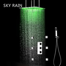 SKY RAIN 20 Inch 500X500mm Ceiling Mounted Overhead LED Rain Shower Head Lateral Jet Thermostatic Set