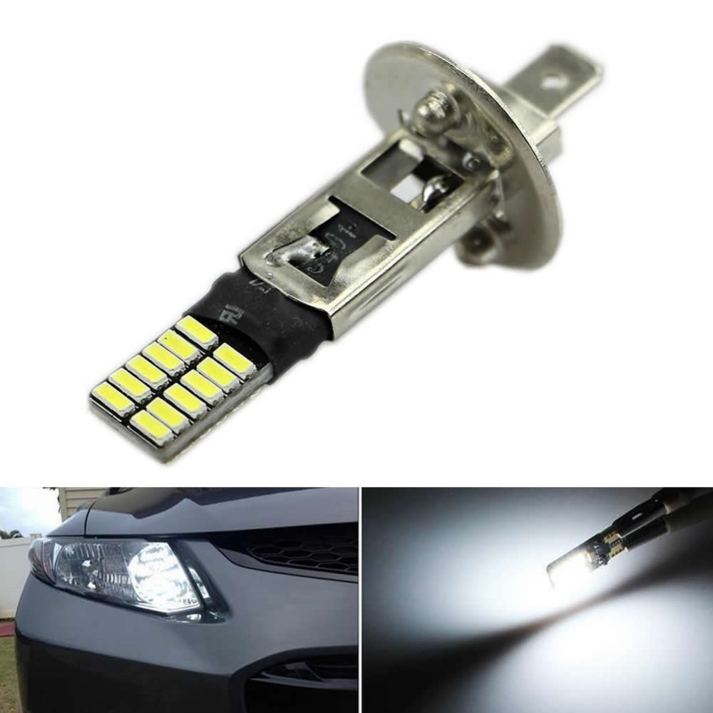 6500K HID Xenon White 24-SMD H1 LED Replacement Bulbs For Fog Lights Driving DRL ijdm hid xenon white 20 smd xbd h1 led replacement bulbs for car fog lights or daytime running lights drl lamps h1 led 12v