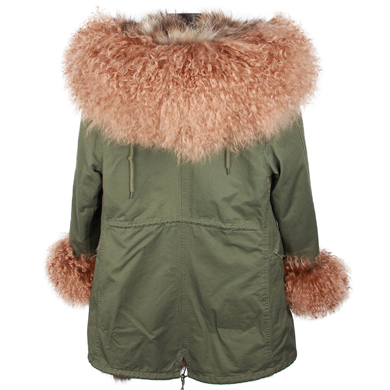 Capuchon D'hiver À Manteau Mongolie Outwear Grand Long Brown Parka black Nouveau Moutons Doublé grey Brown red Brown Col De Réel Renard Femmes Brown Veste Green Fourrure 2018 q6IfvOOw