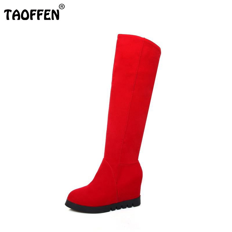 women over knee boots wedge winter warm riding long boot flock quality fashion wedding footwear heels shoes P20877 size 34-43