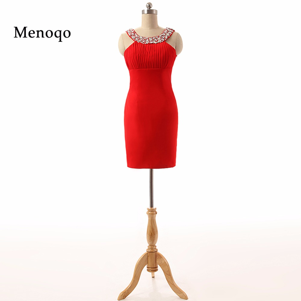 PRD443 Sexy Sheath Beaded Open back Chiffon Custom made 2019 Fashionable Real Photo red   cocktail     dresses   for party
