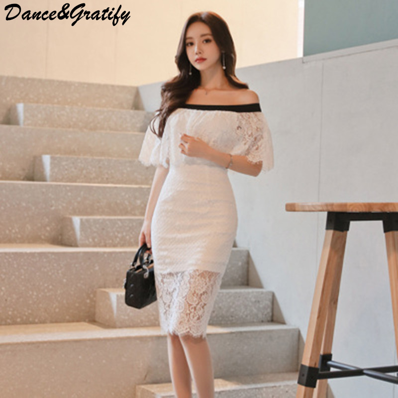 Women Korean <font><b>Sexy</b></font> Slash Neck White Lace Club Party Sundress <font><b>2018</b></font> New Summer Casual Office <font><b>Work</b></font> Bodycon <font><b>Dress</b></font> Very Small Size image