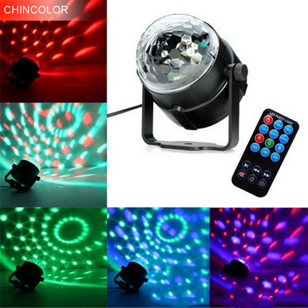 DJ Disco Mini 3W led stage light with wireless remote AC85-265V Sound activated Crystal Disco Ball light for Party KTV Bar CA