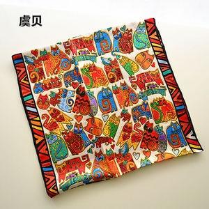 Image 3 - I gatti del fumetto di lunga sciarpa delle donne di protezione solare morbido sottile di gelso naturale di seta sciarpa stampata sciarpe dello scialle dellinvolucro regalo di natale per la Signora