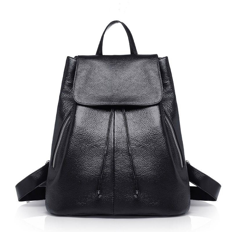 ФОТО 2017 New Fashion Solid Genuine Leather Women Middle School Bags Ladies Mochila Casual Brand Cowhide Women Backpack A1667