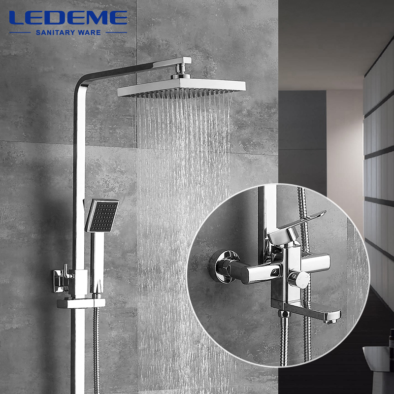 LEDEME Modern Square Chrome Rain Shower Faucet Head Faucets Hand Shower Sprayer Mixer Single Holder Dual