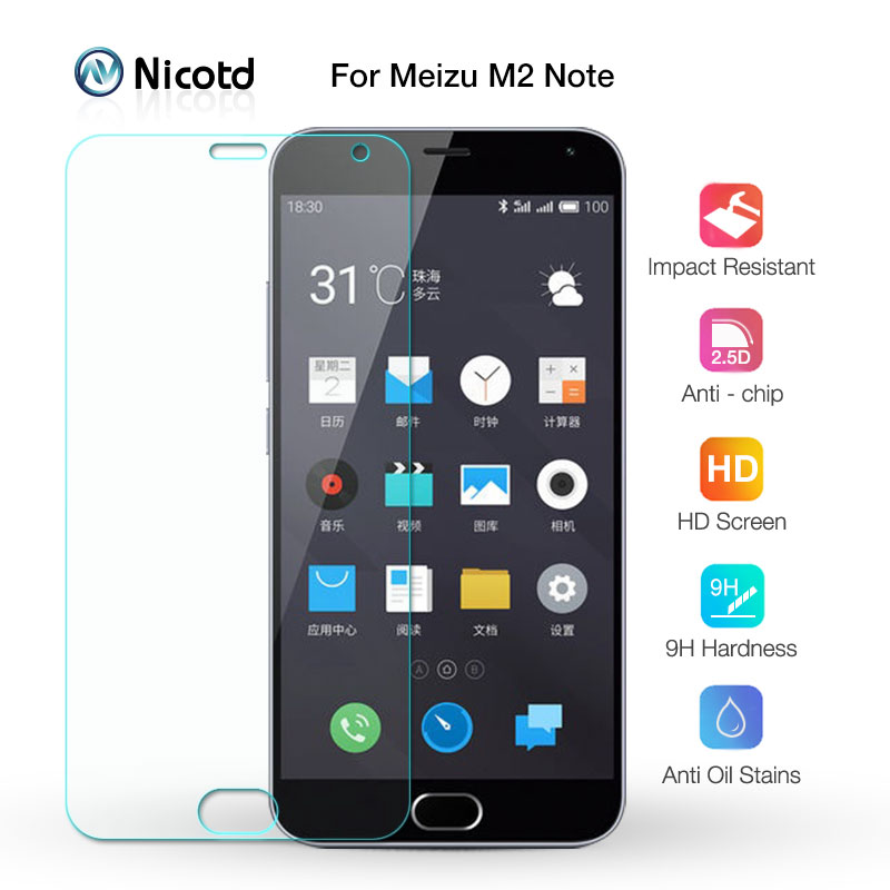 0.26mm Safety Screen Protector On Mobile Phone Tempered Protective Glass Film For MEIZU meilan M2 NOTE 2 Note2 M571C M571U 5.5""