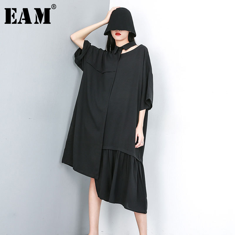 [EAM] 2020 New Spring Summer Lapel Short Sleeve Black Hollow Out Irregular Pleated Big Size Shirt Dress Women Fashion JU650