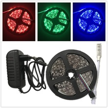 RGB LED strip 5M 300LEDs SMD5050 tapes flexible light diode ribbon with mini 3key controller DC12V adapter Home Decoration Lamp
