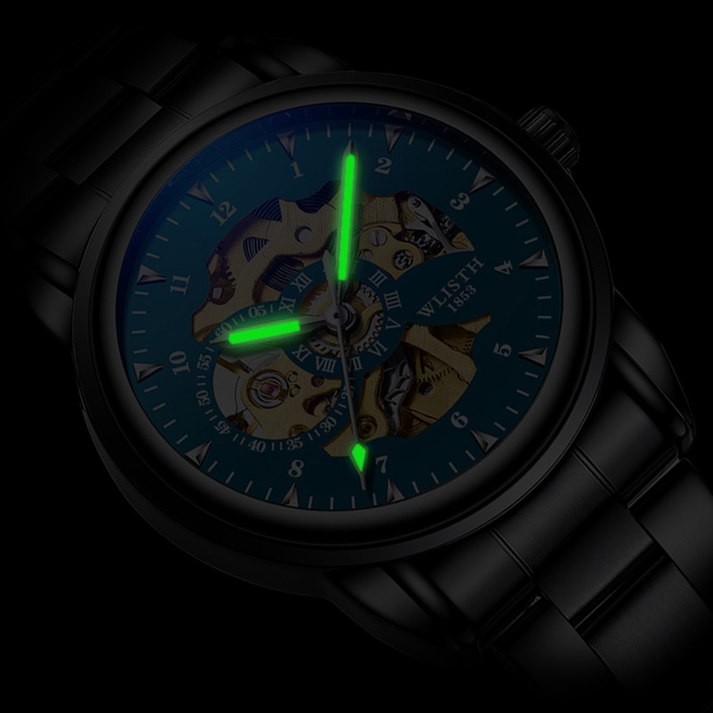 2019 Men Watches Top Brand Luxury WLISTH Mechanical Watches for Men Hour Erkek Kol Saati Luminous Black Skeleton Automatic Watch 3