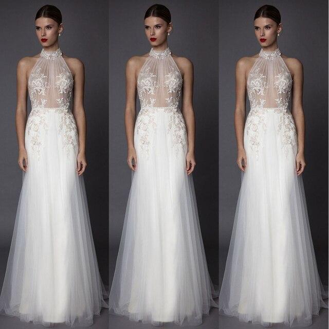 Fabulous See through Beige Appliques Prom Dresses Long Women Evening ...