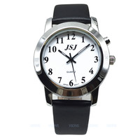 French Talking Watch for Blind People or Visually Impaired People, Talking Date and Time, White Dial, Black Leather Strap