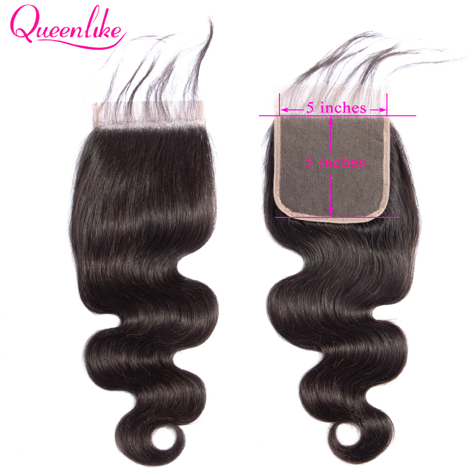 Queenlike Body Wave 5*5 Closure Pre Plucked With Baby Hair Natural Hairline Brazilian Remy Human Hair 5x5 Lace Closure