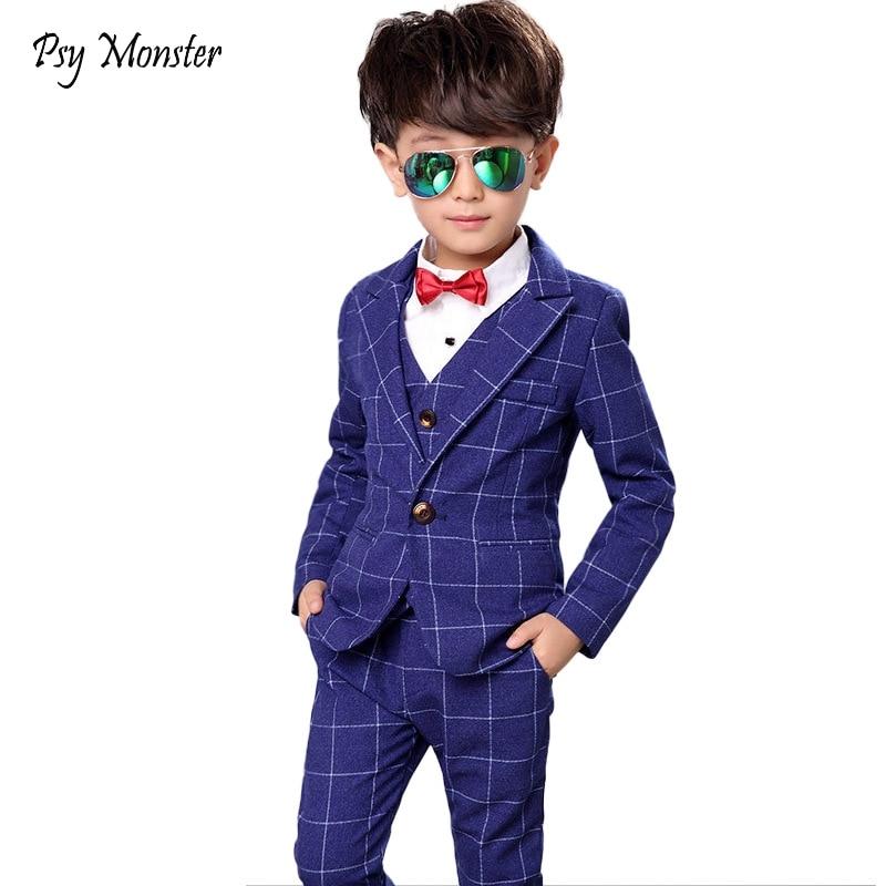 Flower Boys Formal Anzug Suit Kids Wedding Birthday Party Dress Blazer Vest Pants 3pcs Child Tuxedo Prom Performance Costume N40