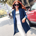 2015 New Fashion Spring Fall Women Long Trench Coat Full Sleeve Cardigan Style Denim Trench Coat Female Casual Trench Outerwear