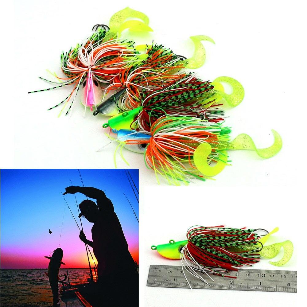 2pc Mixed Large Metal Lead Head Jigs Fishing Bait Buzzbaits Ink Fish Hook