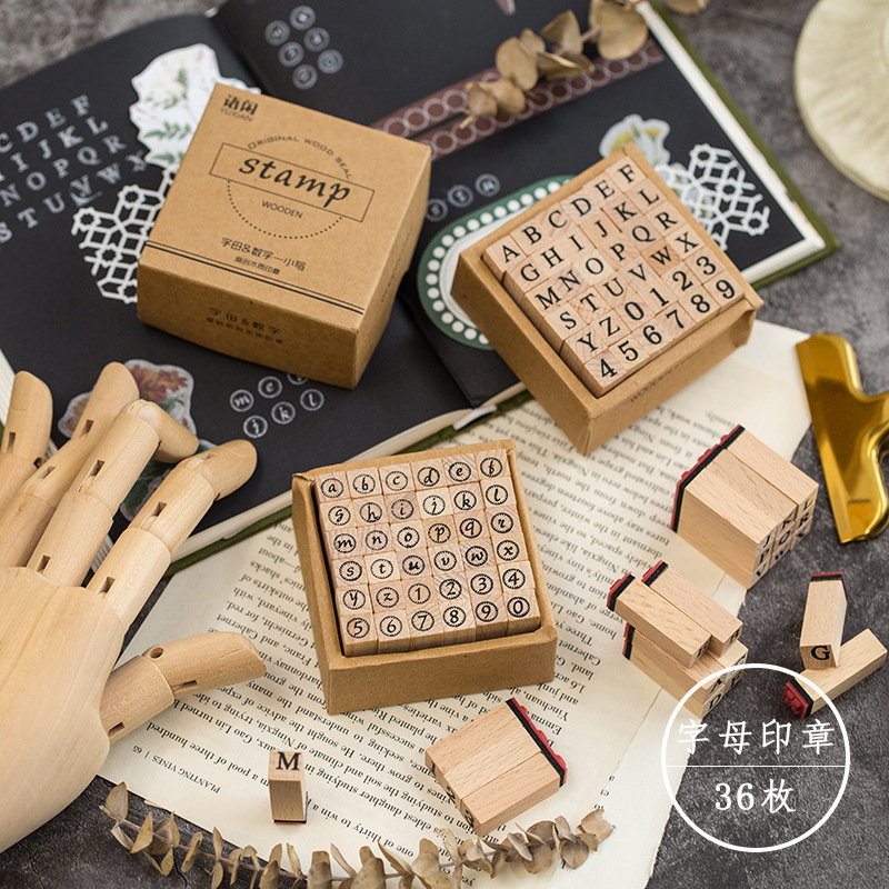 36 Pcs/set Retro Art Wooden Alphabet Letter Number Diary Stamp Seal Album Scrapbook Decor Stamps for Stationery Office Supplies(China)