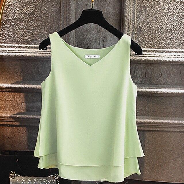 Sleeveless Chiffon Shirt Solid  V-neck Casual Blouse 5