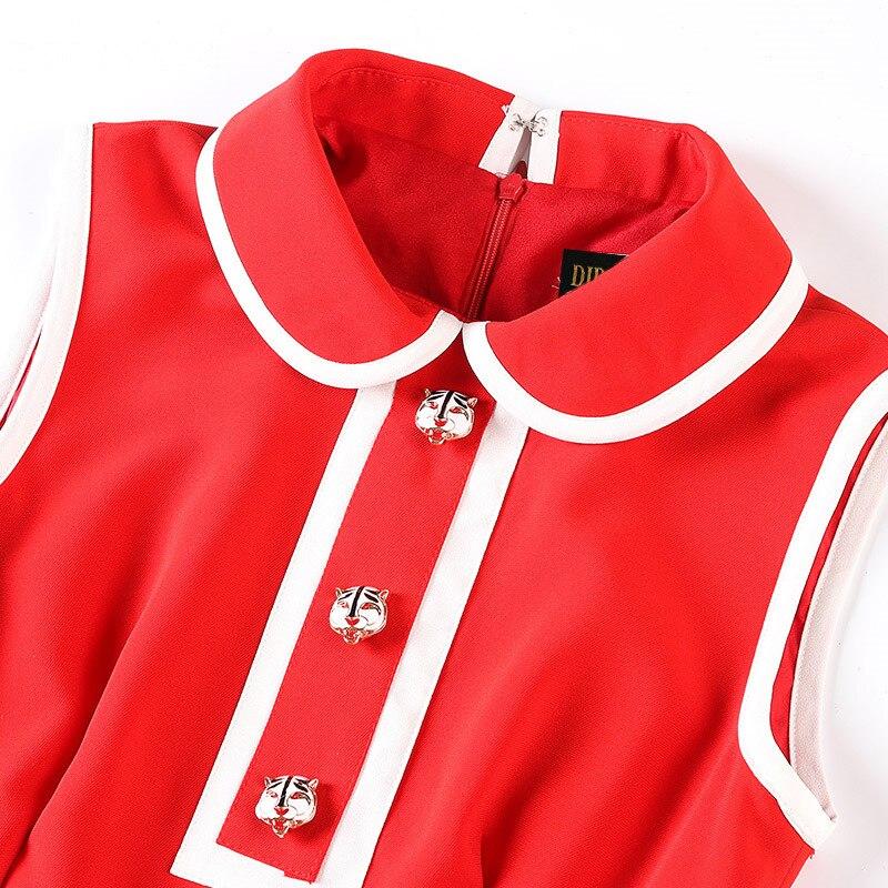 Svoryxiu Fashion Designer Autumn Big Size Mini Dresses Women s Sleeveless  Gorgeous Button Red Christmas Party Dress Vestidos-in Dresses from Women s  ... 7fac1dc9c79b