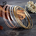 Kalen Multi-strand Jewelry 12pcs Tri-Color Silver Color Gold Rose Gold Plated Stainless Steel Bangle Bracelets For Girls Women
