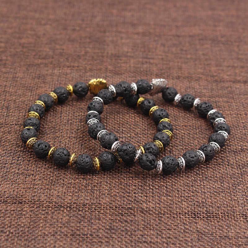 Панк голова льва натуральная Лава мужской браслет мужской женский браслет ручной работы эластичный Femme черный браслет из бусин Pulsera бижутерия