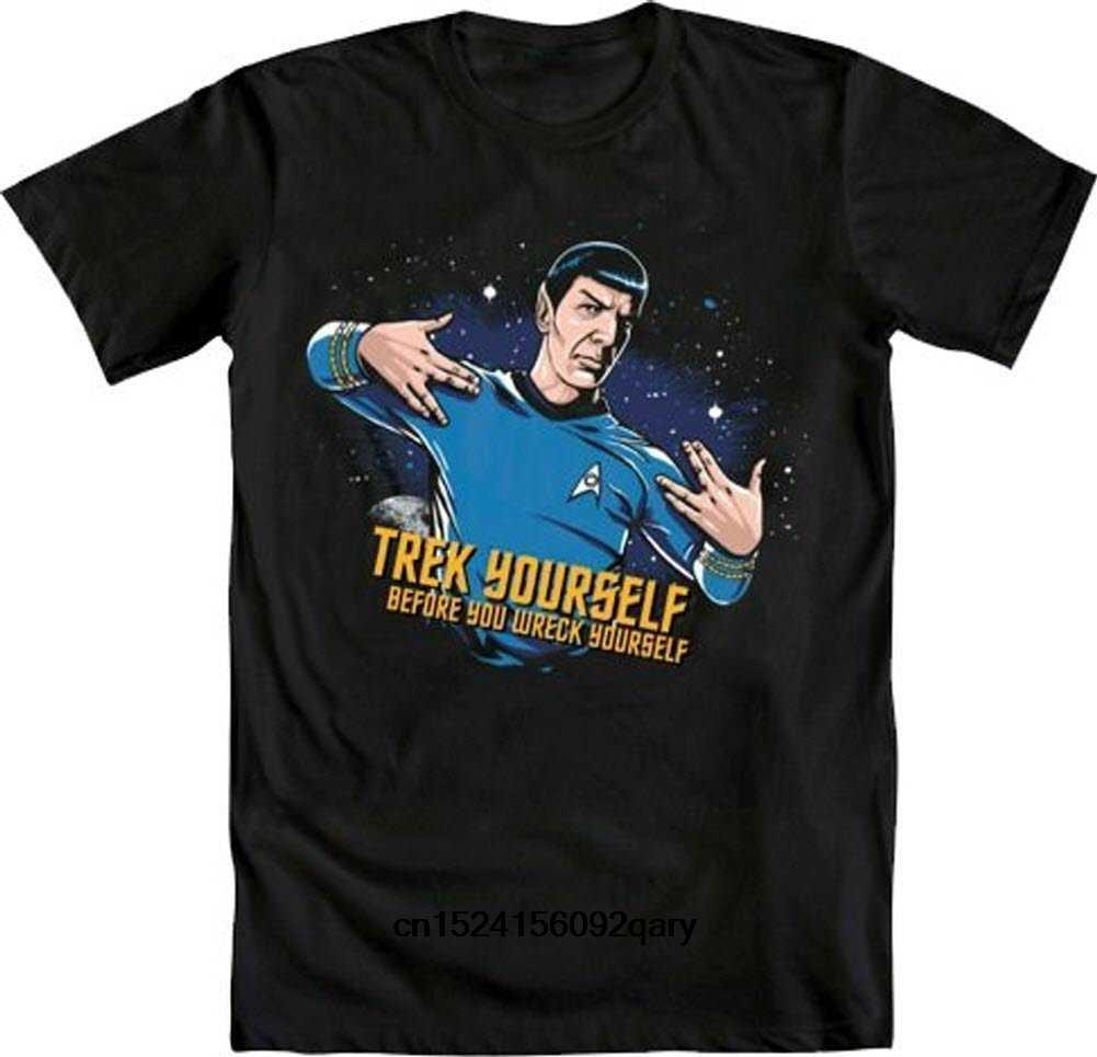 Мужская забавная Футболка женская крутая футболка Spock Treck Yourslef перед крушением взрослая футболка
