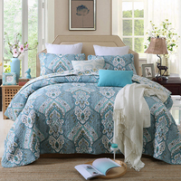 VILLA Brief Embroidery Cotton Quilting Quilts 3PCS Pastoral BLUE Bedding Europe Bedspread BedCover King Size Patchwork