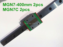 Kossel Pro Miniature 7mm linear slide :2pcs MGN7 – 400mm rail+2pcs MGN7C carriage for X Y Z axies 3d printer parts
