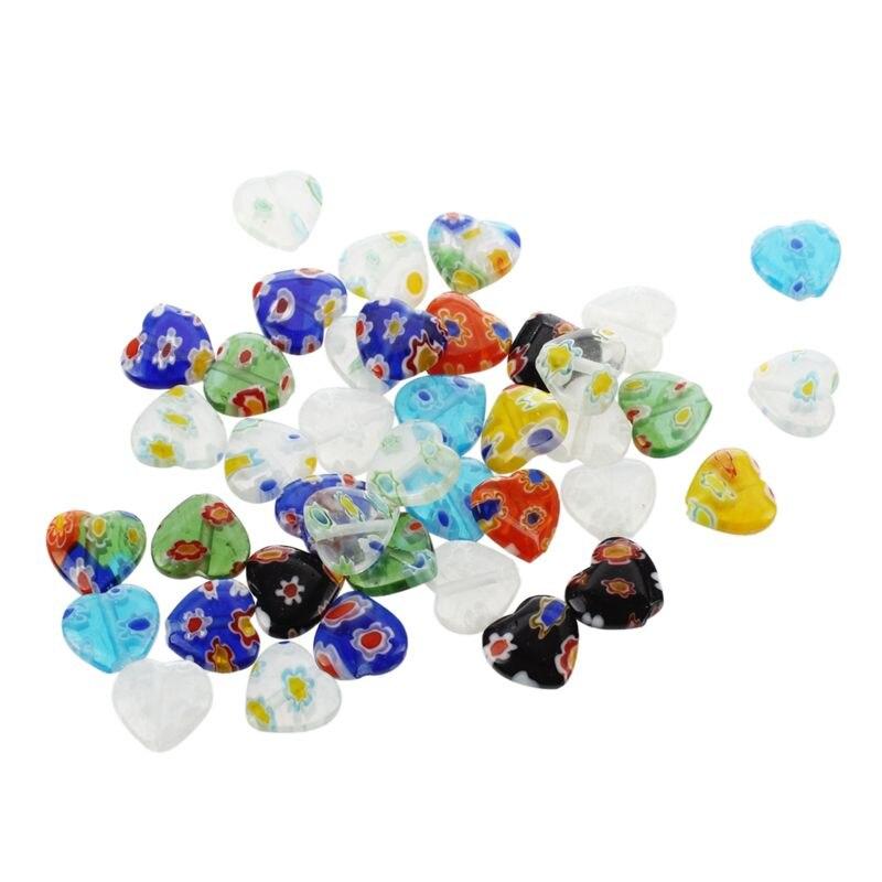 40pcs MIX Millefiori Lampwork Flat Heart Glass Beads 10mm ~ Jewelry Findings ~(China)