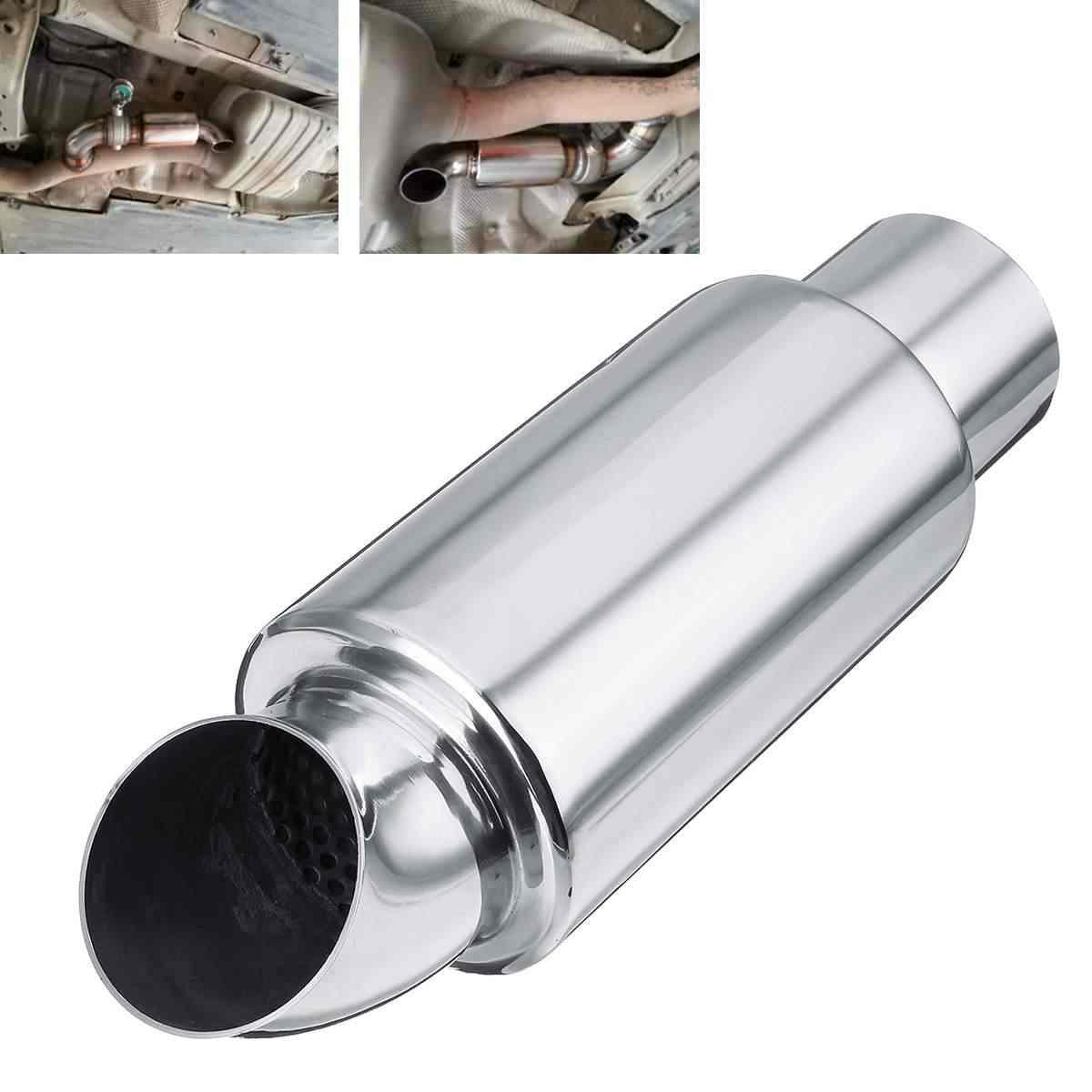 """2.5/"""" 63mm UNIVERSAL STAINLESS EXHAUST BACK BOX SILENCER ROUND MUFFLER RESONATOR"""