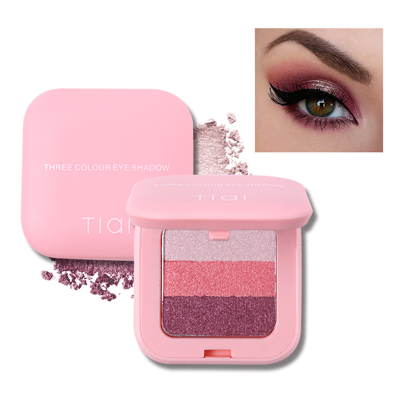 TIAI 3 Color Mini Eye Makeup Palette Earth Color Shimmer Glitter Eyeshadow Baked Powder Pink Nude Waterproof Natural Pigments eye shadow