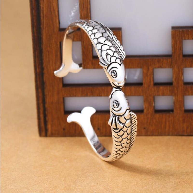 New Exquisite Cute Fish 925 Sterling Silver Jewelry Bracelets Pisces Double Fish Ethnic Style Retro Bangles SB49