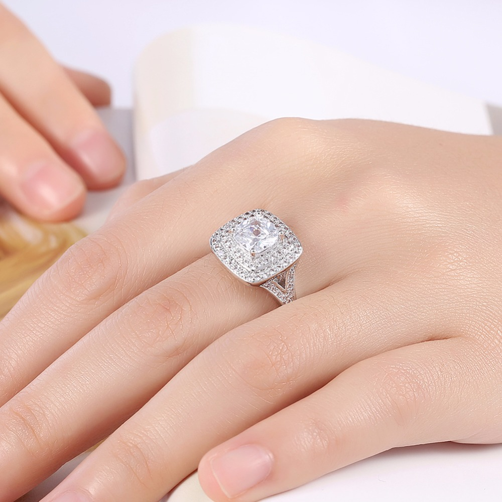 MEGREZEN Costume Jewelry Engagement Rings Wholesale For Women Silver