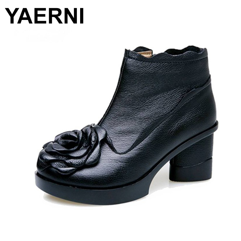 YAERNI Autumn And winter Fashion Genuine Leather Shoes Women's Boots Casual Women Thick Heels Handmade Woman Ankle Boots E323 promotion 7pcs baby bedding set for children s bed crib set crib bedding bumper duvet matress pillow