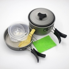 лучшая цена 8pcs Outdoor Hiking Cooking Set 2 Persons Use Picnic Cookware Camping Portable Tableware Bowl Pot  Pan Sets Aluminum Alloy BBQ