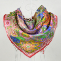 90*90cm offee Green 100% Mulberry Silk Female Square Silk Scarf Printed,Fashion 100% Silk Crepe Satin Paisley Women Scarves
