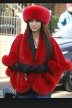 Free shipping red cashmere cape real fox fur trim length 70cm pashmina for women
