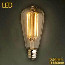 Светодиодный подвесной светильник в стиле ретро, Lampada Bombillas Винтаж Эдисон лампы Светильник ST64 2/4/6W E27 220V Decoratives углерода лампа накаливания