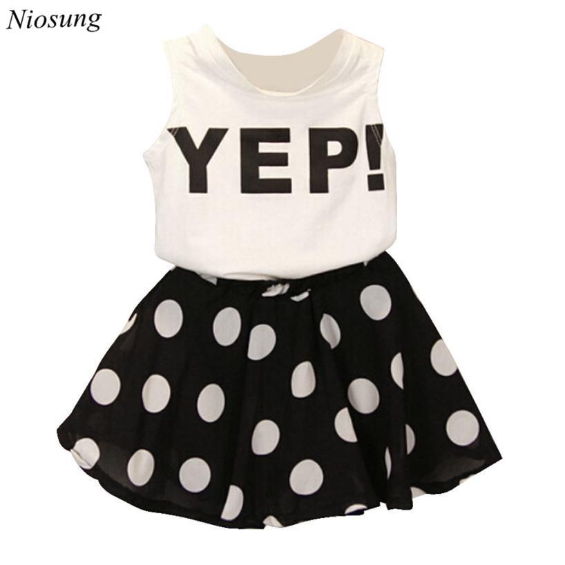 29d651a49 Niosung 2 قطع طفل الفتيات أميرة إلكتروني أكمام الصدرية + نقطة الشيفون تنورة  قصيرة مجموعة ملابس الأطفال أطفال تنورة الملابس دعوى v