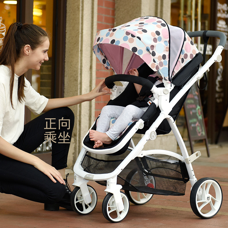 Fashion Folding Baby Stroller 2 in 1 (Pushchair + Sleeping Basket),  Highview Bidirectional Suspension 4 Wheels Baby Carriage, 2017 top fashion stroller europe baby stroller 2 in 1 175 degree sleeping basket 0 36 months pocket carraige pram trunk